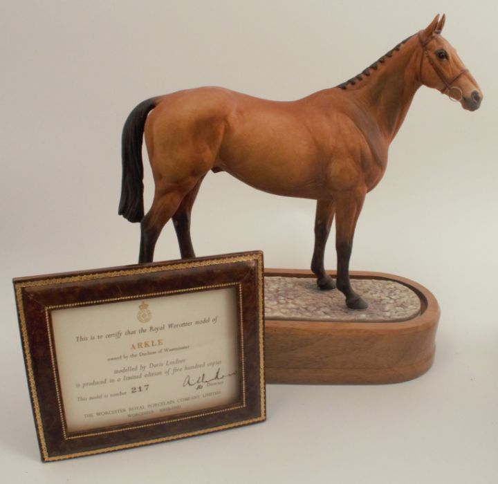 A Royal Worcester limited edition figure, Arkle, modelled by Doris Lindner, with plinth and