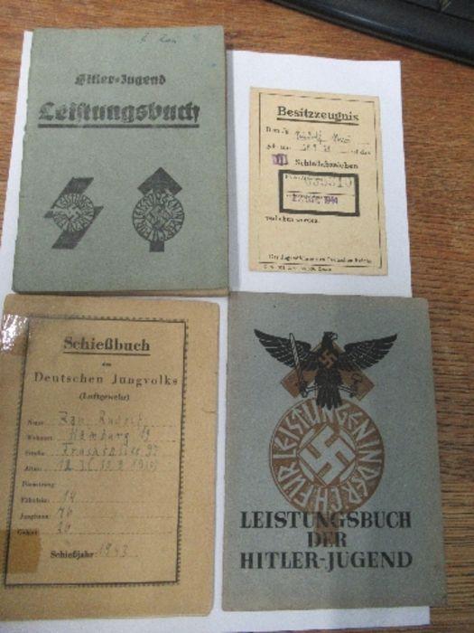 World War II, paperwork relating to Hitler Youth member Rufolf Rau, to include proficiency awards,