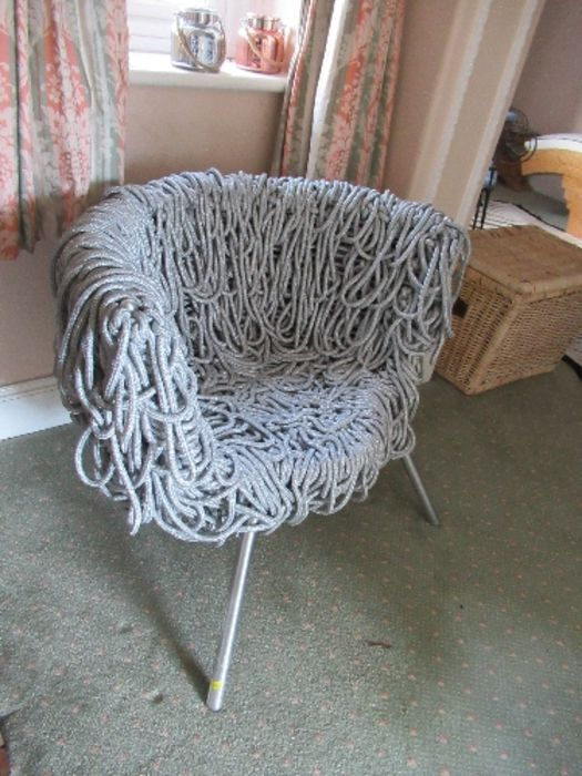 A draped silver rope designer armchair - Image 4 of 4