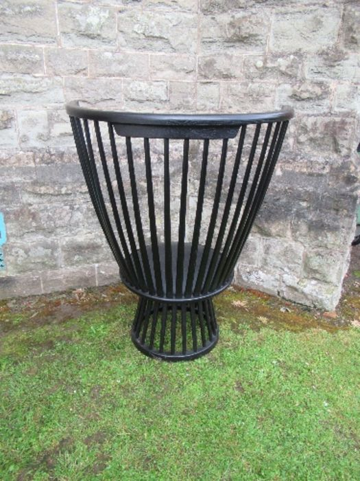 Ebonised high comb back chair of inverted pyramid form. - Image 2 of 3