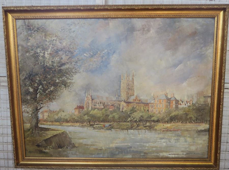 C Leslie Matthew, oil on canvas, view of Worcester across the river with Cathedral, 30ins x 40ins
