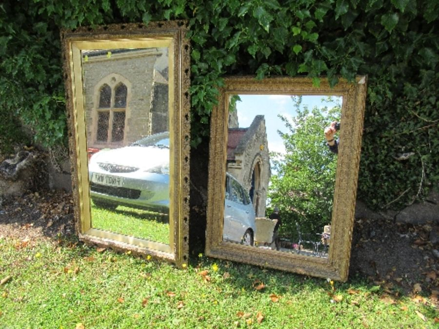 Two rectangular wall mirrors, plate sizes 35ins x 18.25ins and 26.75ins x 18.5ins