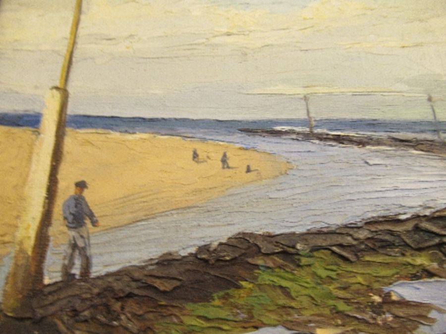 An oil on board, beach scene, signed F.W. Bannister, 1943, 11ins x 13ins - Image 3 of 7