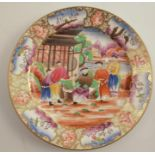 A 19th century Swansea plate, decorated with oriental figures within a landscape, having a dealer'