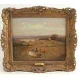 Attributed to David Bates, oil on canvas, Worcestershire landscape with cows, 9.5ins x 11.5ins