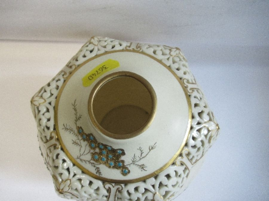 A Royal Worcester gilded ivory vase, with pierced decoration around the neck, shape number G61, - Image 3 of 5
