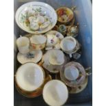 A collection of assorted ceramics, mainly cups and saucers, to include Ansley, Royal Worcester etc