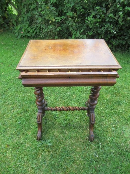 A Victorian mahogany work table, fitted with a drawer, and raised on spirally turned legs, width