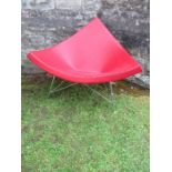 """Red leather Vitra """"Coconut"""" chair after George Nelson"""