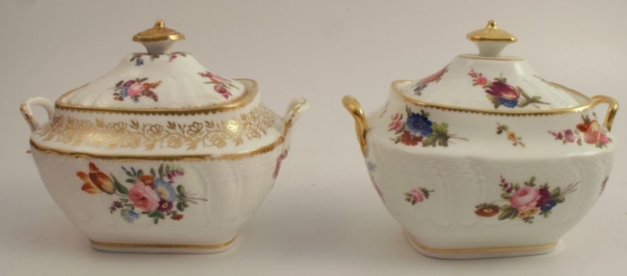 A pair of 19th century Swansea sucrieres, having a label to the base, Sir Leslie Joseph