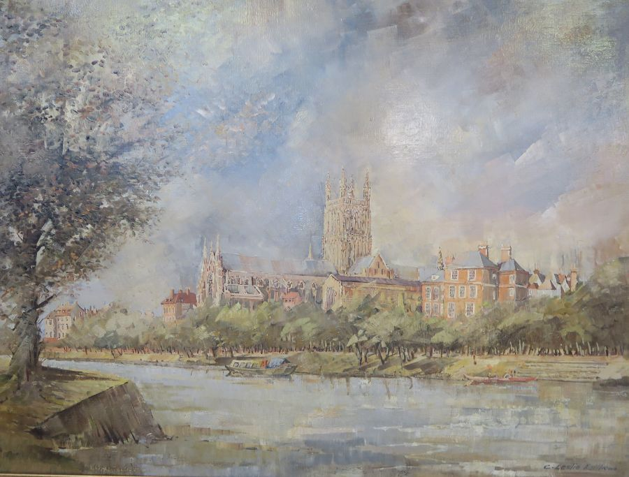C Leslie Matthew, oil on canvas, view of Worcester across the river with Cathedral, 30ins x 40ins - Image 2 of 3