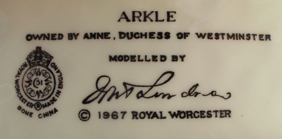 A Royal Worcester limited edition figure, Arkle, modelled by Doris Lindner, with plinth and - Image 3 of 3
