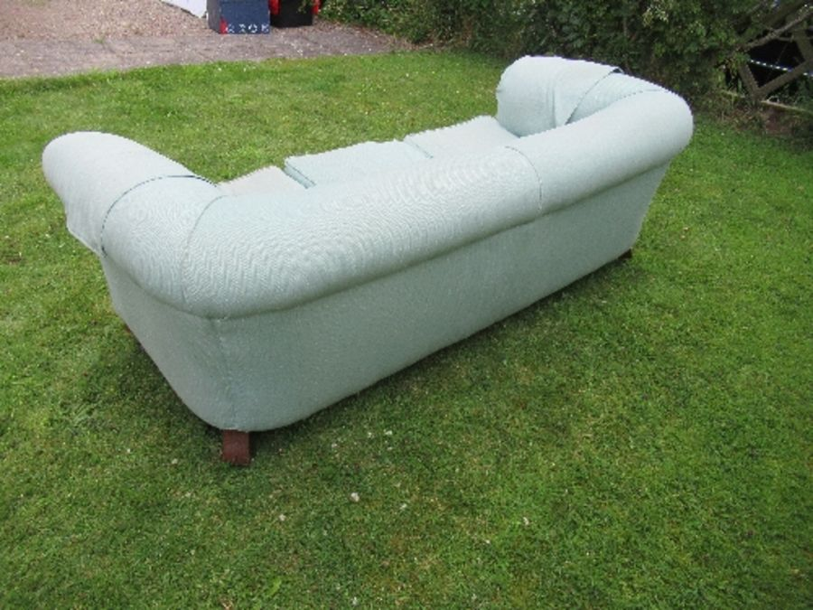 A Victorian Chesterfield, raised on short turned legs, width 76ins - Image 3 of 4