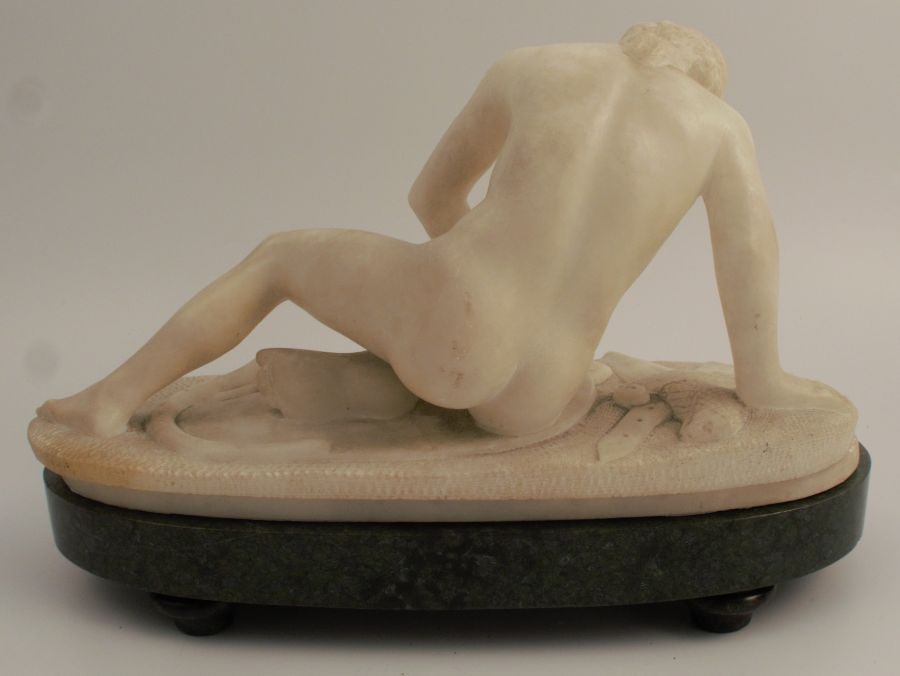Marble statue, The Dying Gaul, width approx. 12ins, raised on a stone plinth - Image 4 of 4