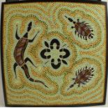 Aboriginal Art, oil on canvas, three animals to a spotted yellow ground, 17.5ins x 17.5ins