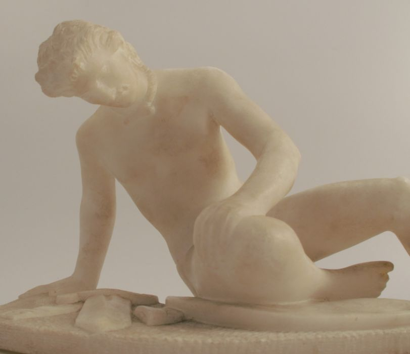 Marble statue, The Dying Gaul, width approx. 12ins, raised on a stone plinth - Image 2 of 4