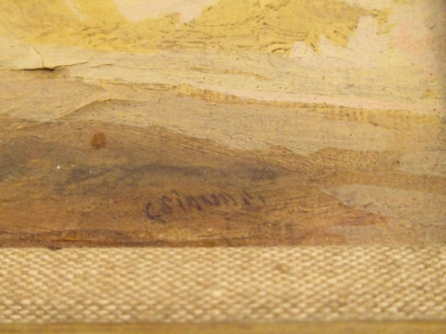A pair of 19th school oil on canvas, signed C.Simms, beach scenes, with gallery label to the - Image 5 of 10