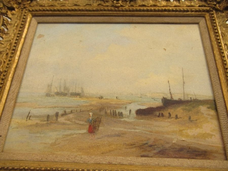 A pair of 19th school oil on canvas, signed C.Simms, beach scenes, with gallery label to the - Image 10 of 10