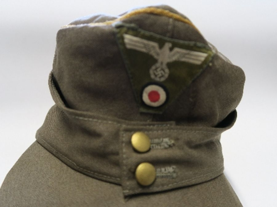 WW2 style German Luftwaffe M43 Winter Field Cap, in white sheepskin, together with a German Third - Image 8 of 9