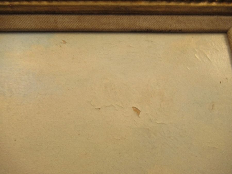 A pair of 19th school oil on canvas, signed C.Simms, beach scenes, with gallery label to the - Image 9 of 10