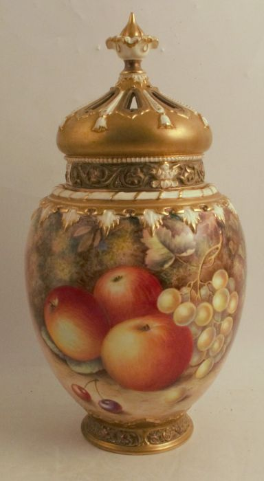 A Royal Worcester crown top pot pourri, decorated half round with hand painted fruit by Ayrton,