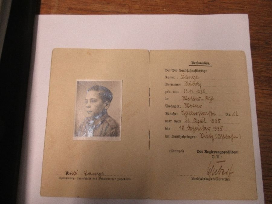 World War II, Hitler Youth ephemera relating to Fritz Jehring, to incude Youth Messenger armband, - Image 5 of 8