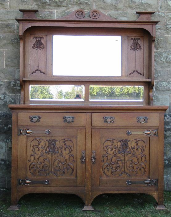 A Liberty style oak Art Nouveau mirror back sideboard, with copper mounts, width 59.5ins, depth - Image 3 of 9