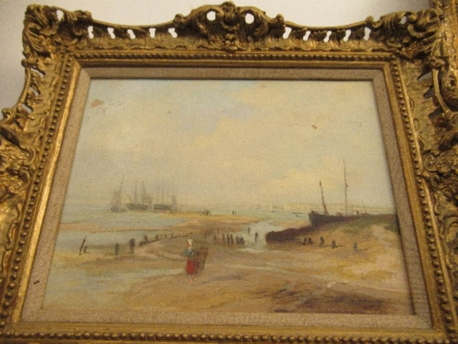 A pair of 19th school oil on canvas, signed C.Simms, beach scenes, with gallery label to the