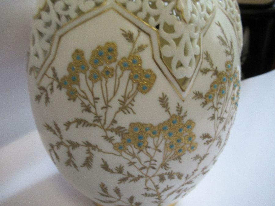 A Royal Worcester gilded ivory vase, with pierced decoration around the neck, shape number G61, - Image 2 of 5
