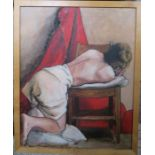 A 20th century oil on canvas, girl leaning on a chair, 30ins x 23.5ins