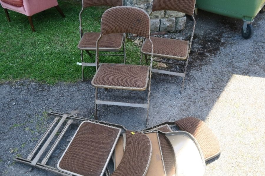 Six Sandler Seating metal and upholstered folding chairs, no fire labels
