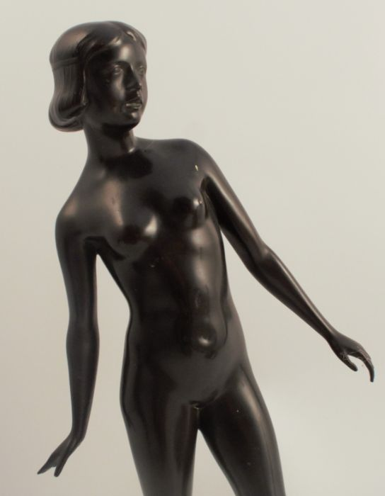 Theimann Grimwald C.M., a bronze figure of a naked woman, on marble block base, height 16.5ins - Image 2 of 3