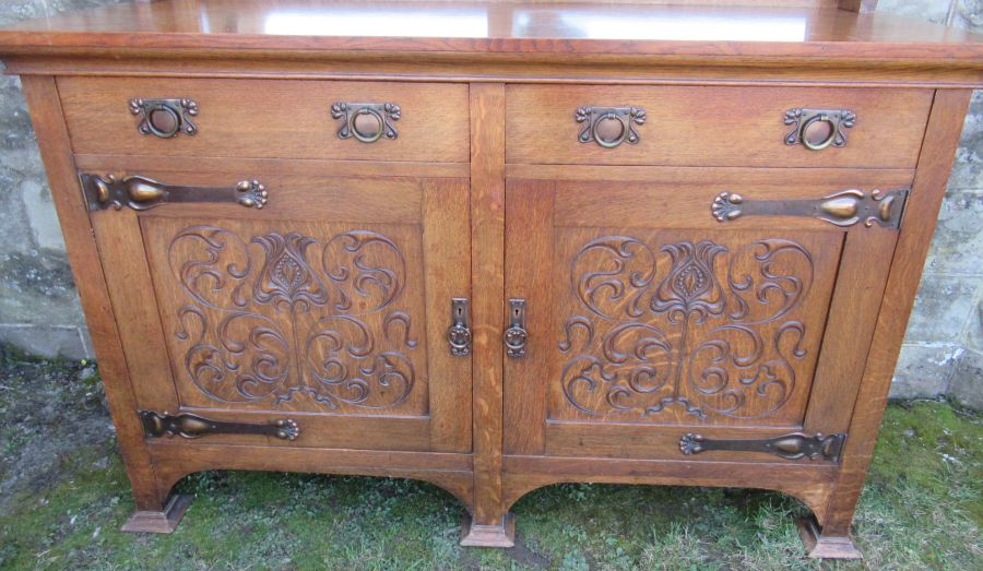 A Liberty style oak Art Nouveau mirror back sideboard, with copper mounts, width 59.5ins, depth - Image 2 of 9