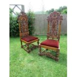 A pair of late 19th century Anglo Indian chairs, in the 17th century style, with ornate carved
