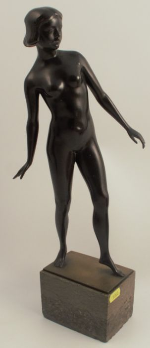 Theimann Grimwald C.M., a bronze figure of a naked woman, on marble block base, height 16.5ins