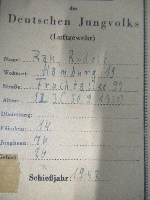 World War II, paperwork relating to Hitler Youth member Rufolf Rau, to include proficiency awards, - Image 2 of 3