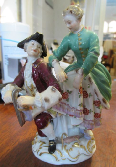 A pair of continental porcelain figures, of a man and a woman in period dress, the man holding a - Image 18 of 22