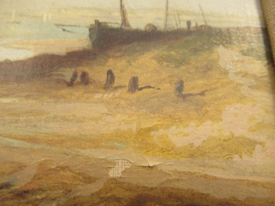 A pair of 19th school oil on canvas, signed C.Simms, beach scenes, with gallery label to the - Image 8 of 10
