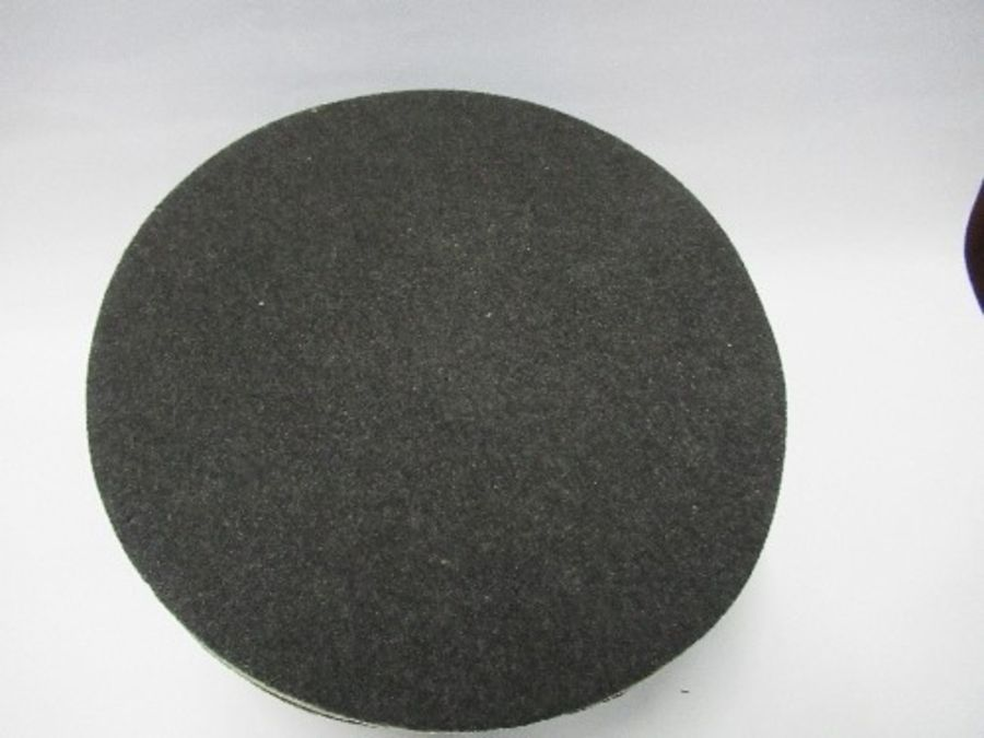 A Third Reich style visor cap, in dark grey wool, with white piping, and black leather effect chin - Image 4 of 6