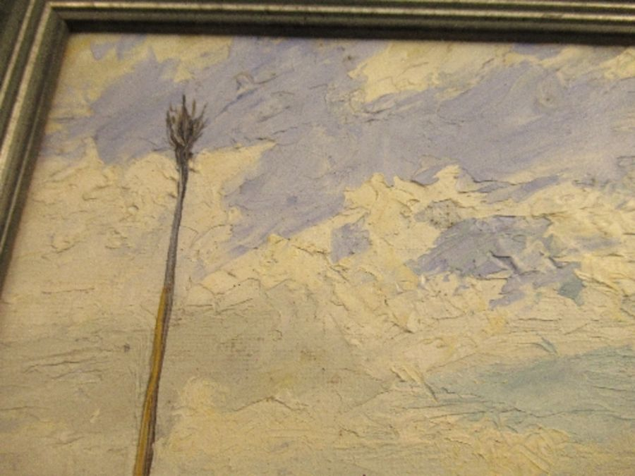 An oil on board, beach scene, signed F.W. Bannister, 1943, 11ins x 13ins - Image 5 of 7