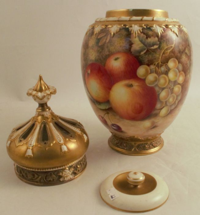 A Royal Worcester crown top pot pourri, decorated half round with hand painted fruit by Ayrton, - Image 5 of 5