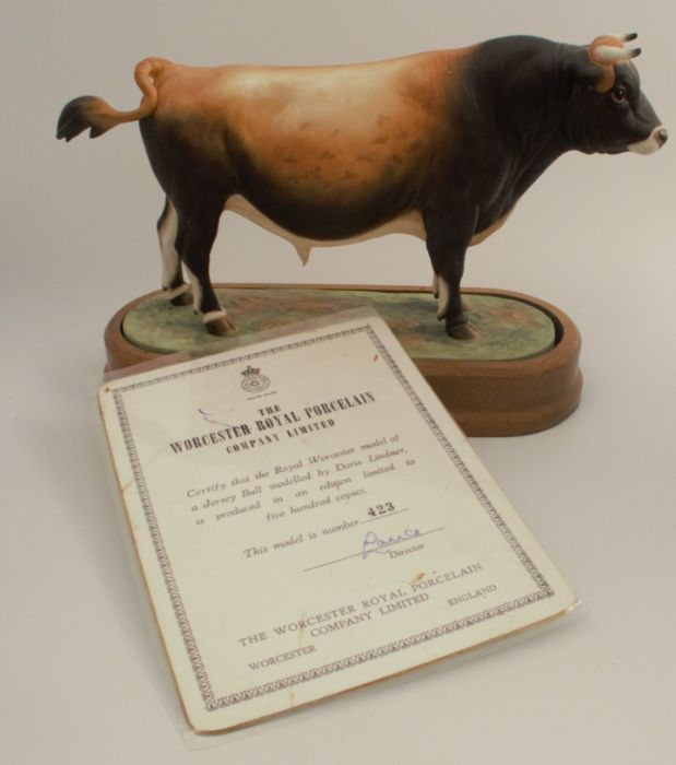 A Royal Worcester limited edition figure, Jersey Bull, modelled by Doris Lindner, with plinth and