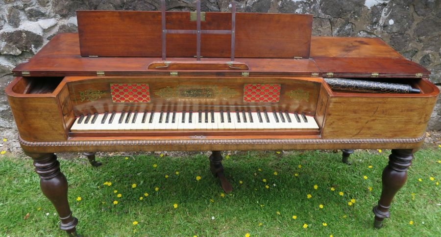 A 19th century mahogany cased square piano by William Stoddart