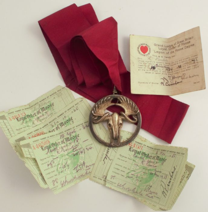 A Moose Lodge medal, on ribbon, together with membership details