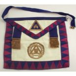 A Toye & Kenning Worcestershire & Herefordshire Masonic apron, in leather and silk