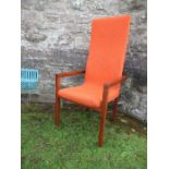 Padouk high back armchair with orange upholstery attributed to John Makepeace
