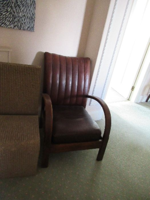 An Art Deco leather open armchair - Image 2 of 2
