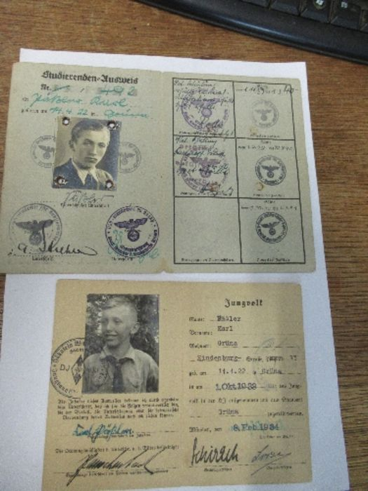 World War II, Hitler Youth paperwork relating to Karl Passler, to include membership card for the - Image 2 of 2
