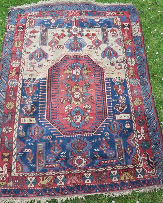An Eastern style rug, the blue ground field having repeating motifs, 48ins x 95ins, together with - Image 3 of 5