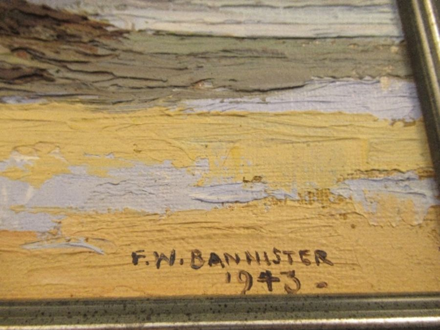 An oil on board, beach scene, signed F.W. Bannister, 1943, 11ins x 13ins - Image 2 of 7